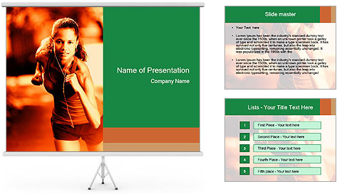 Running Woman In Red Light PowerPoint Template