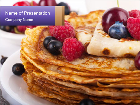 Russian Pancakes With Berries PowerPoint Templates