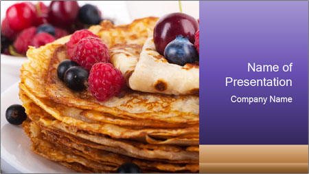 Russian Pancakes With Berries PowerPoint Template