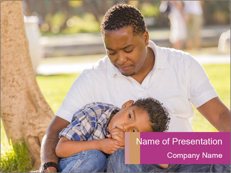 Afro-American Father With Son PowerPoint Template