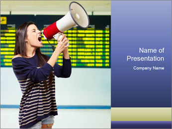 Woman With Loudspeaker At Airport PowerPoint Template - Slide 1