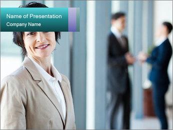 Confident Businesswoman PowerPoint Template - Slide 1