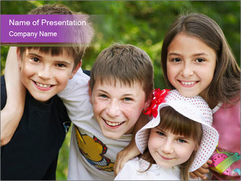 Four Children PowerPoint Template
