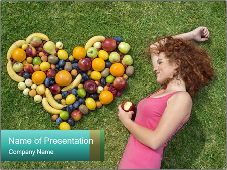 Woman Loves Fruits PowerPoint Template