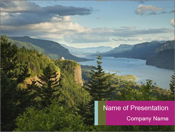 Cliffs In Columbia PowerPoint Template