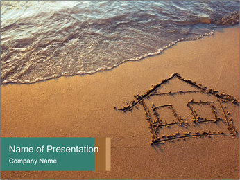 House Drawing On Sand PowerPoint Template - Slide 1