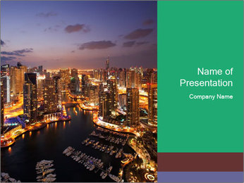 Dubai At Night PowerPoint Template - Slide 1