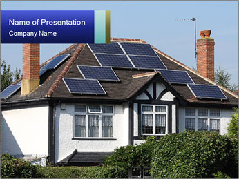 House With Solar Panel PowerPoint Template - Slide 1