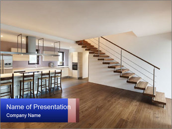 Indoor Staircase PowerPoint Template - Slide 1