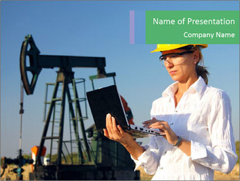 Woman At Oil Industry PowerPoint Template