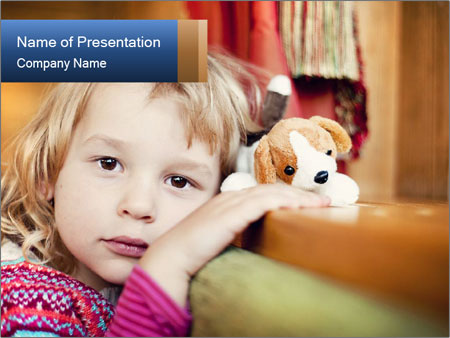 Sad-Looking Child PowerPoint Template