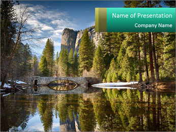 Pine Trees And Lake PowerPoint Templates - Slide 1