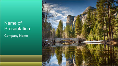Pine Trees And Lake PowerPoint Template