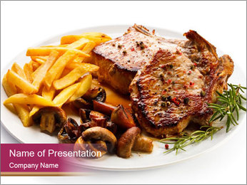 Steak And Chips PowerPoint Template - Slide 1