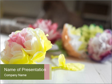 Flowers On Wooden Floor PowerPoint Template