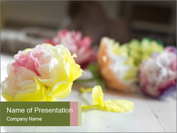 Flowers On Wooden Floor PowerPoint Template - Slide 1