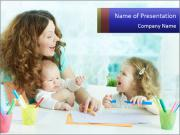 Nanny With Children PowerPoint Template