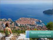 Woman Enjoying Dubrovnik City PowerPoint Templates