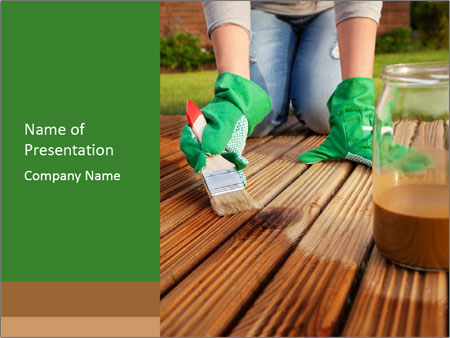 Woman Cleans Floor PowerPoint Template