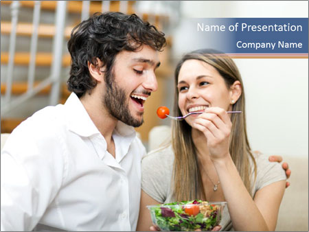 Woman Feeds Her Husband PowerPoint Templates