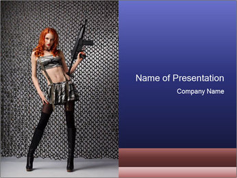 Sexy Woman With Weapon PowerPoint Template