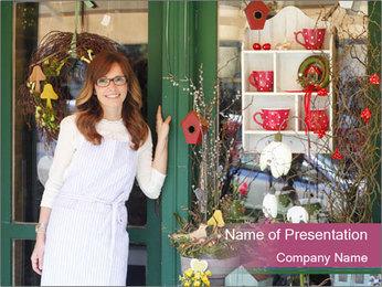 Woman Florist PowerPoint Template - Slide 1