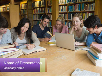Students In Library PowerPoint Template