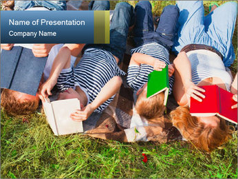 Kids With Books PowerPoint Template