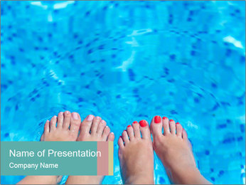Feet And Swimming Pool PowerPoint Template - Slide 1