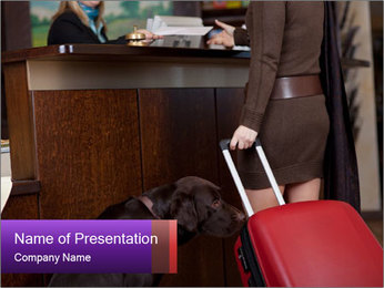 Woman Carrying Red Luggary PowerPoint Template