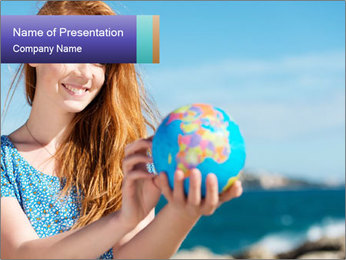 Woman Holding Globus PowerPoint Template - Slide 1