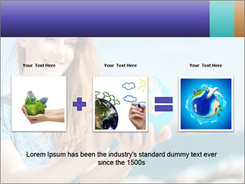 Woman Holding Globus PowerPoint Template - Slide 22