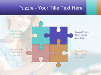 Woman Holding Globus PowerPoint Template - Slide 43