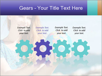 Woman Holding Globus PowerPoint Template - Slide 48