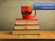 Red Cup And Books PowerPoint Template