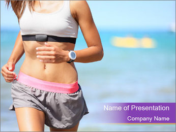 Fit Woman Jogging On Beach PowerPoint Template