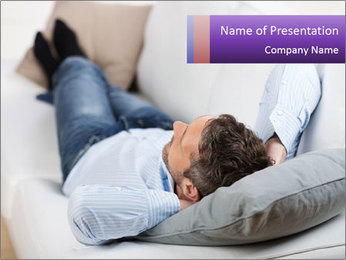 Man Resting On Sofa PowerPoint Templates - Slide 1