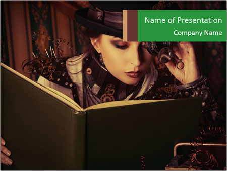 Cyber Woman With Book PowerPoint Template