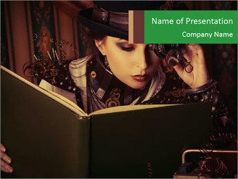 Cyber Woman With Book Modèles des présentations  PowerPoint