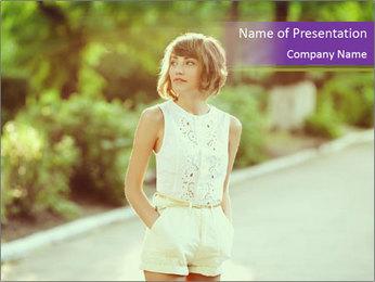 Stylish European Woman PowerPoint Template