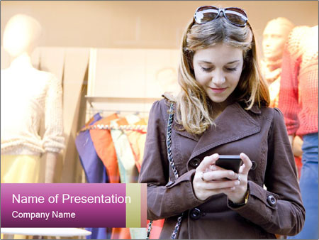 Woman Chatting With Cell Phone PowerPoint Template