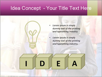 Woman Chatting With Cell Phone PowerPoint Template - Slide 80