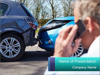 Man Calling Car Insurance PowerPoint Template - Slide 1