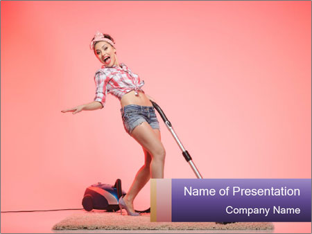 Pinup Woman With Vacuum Cleaner PowerPoint Templates