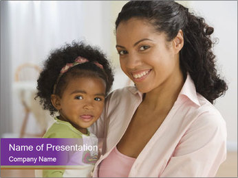 Afro-American Mama With Small Daughter PowerPoint Template
