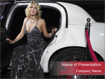 Glamour Woman And White Car PowerPoint Template