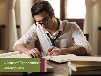 Concentrated Man PowerPoint Template
