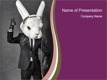 Man In White Rabbit Mask PowerPoint Templates - Slide 1
