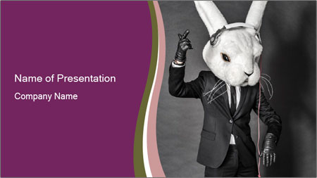 Man In White Rabbit Mask PowerPoint Template