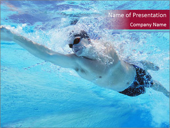 Swimmer Under Water PowerPoint Templates - Slide 1